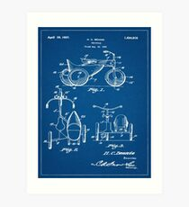 1927 Tricycle With A Sidecar Patent Blueprint Art Print