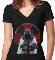 Templar Ritter T-Shirt Distressed Cross Mittelalterliche Brüderlichkeit Shirt mit V-Ausschnitt