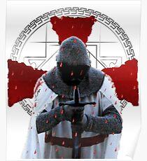 Templar Ritter T-Shirt Distressed Cross Mittelalterliche Brüderlichkeit Poster