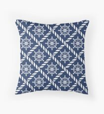 Ships Wheel and Rope Nautical Pattern Throw Pillow