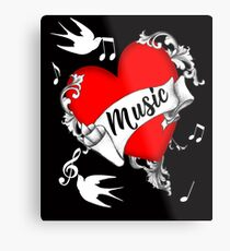 Tattoo Design Red Love Heart Music Lovers Cool Graphic Metal Print