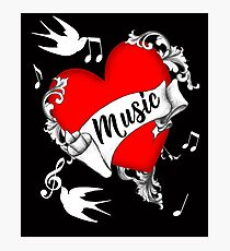 Tattoo Design Red Love Heart Music Lovers Cool Graphic Photographic Print