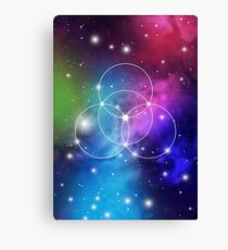 Flower of Life on Space Background Canvas Print