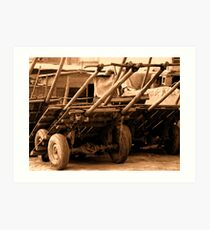 Wood cart p101bw Art Print