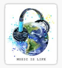 planet Earth with headphones  Sticker