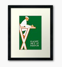 Retro tennis referee, game set and match Framed Print