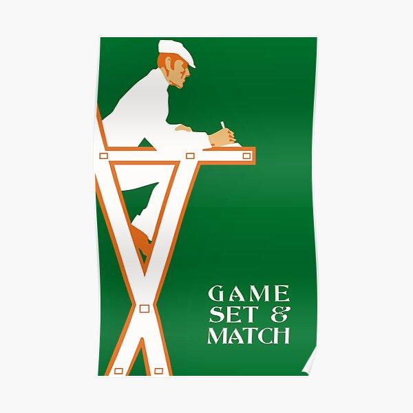 Arbitre de tennis rétro, jeu de jeu et match Poster
