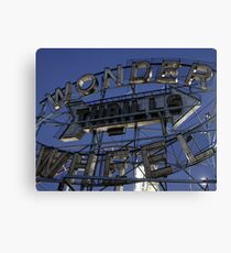 "Vintage ""Wonder Wheel Thrills"" sign at the Astroland amusement park at Coney Island  Canvas Print"