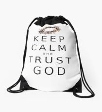 KEEP CALM & TRUST GOD  Drawstring Bag