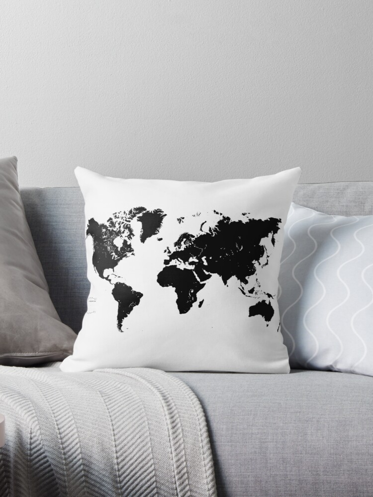 Black white world map throw pillows by qrio the curious shop black white world map by qrio the curious shop gumiabroncs Images