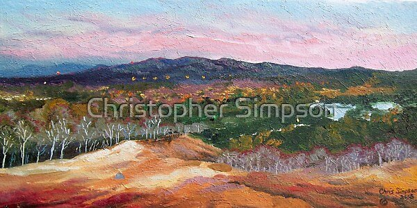 View across the Lake and Mountains. Progress? by Christopher Simpson