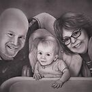 Happy Grandparents graphite drawing by Pam Humbargar
