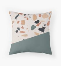 Terrazzo Texture Antique Green #1 Throw Pillow