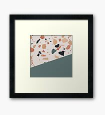 Terrazzo Texture Antique Green #1 Framed Print