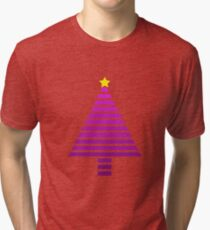 Stripy Purple Christmas Tree Tri-blend T-Shirt
