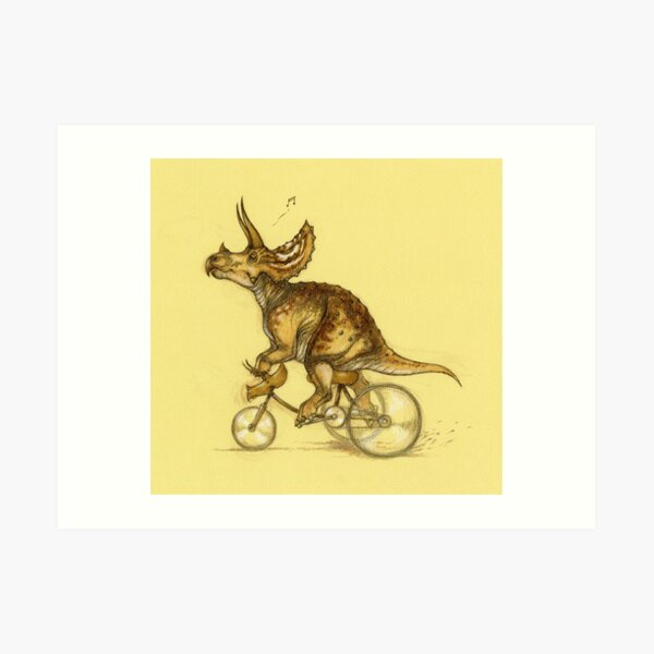 Tricycling Triceratops. Art Print
