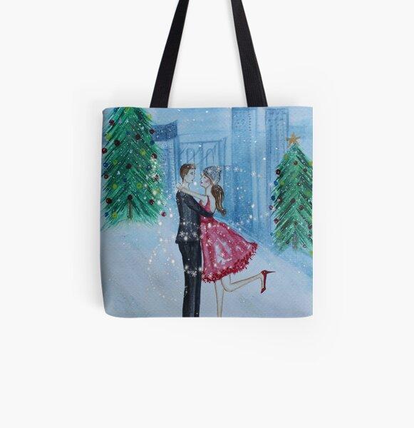 Christmas Romance All Over Print Tote Bag