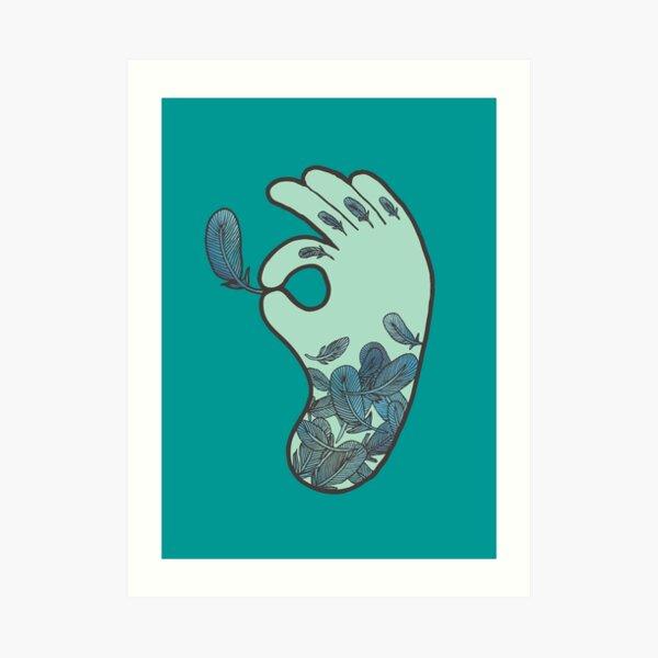 Blue Feather Tattoo Art Print