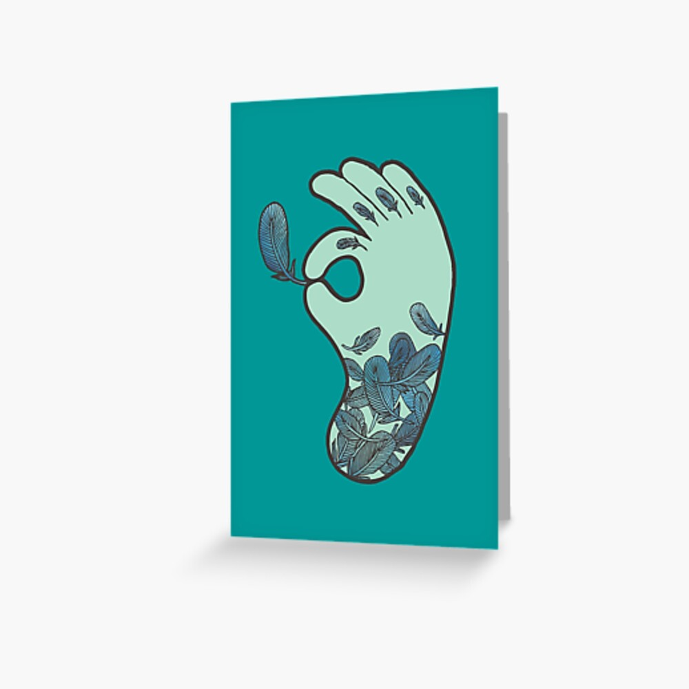 Blue Feather Tattoo Greeting Card