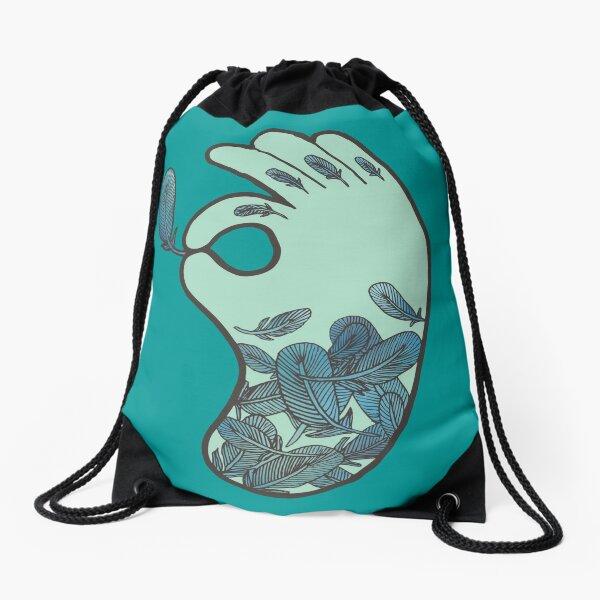 Blue Feather Tattoo Drawstring Bag