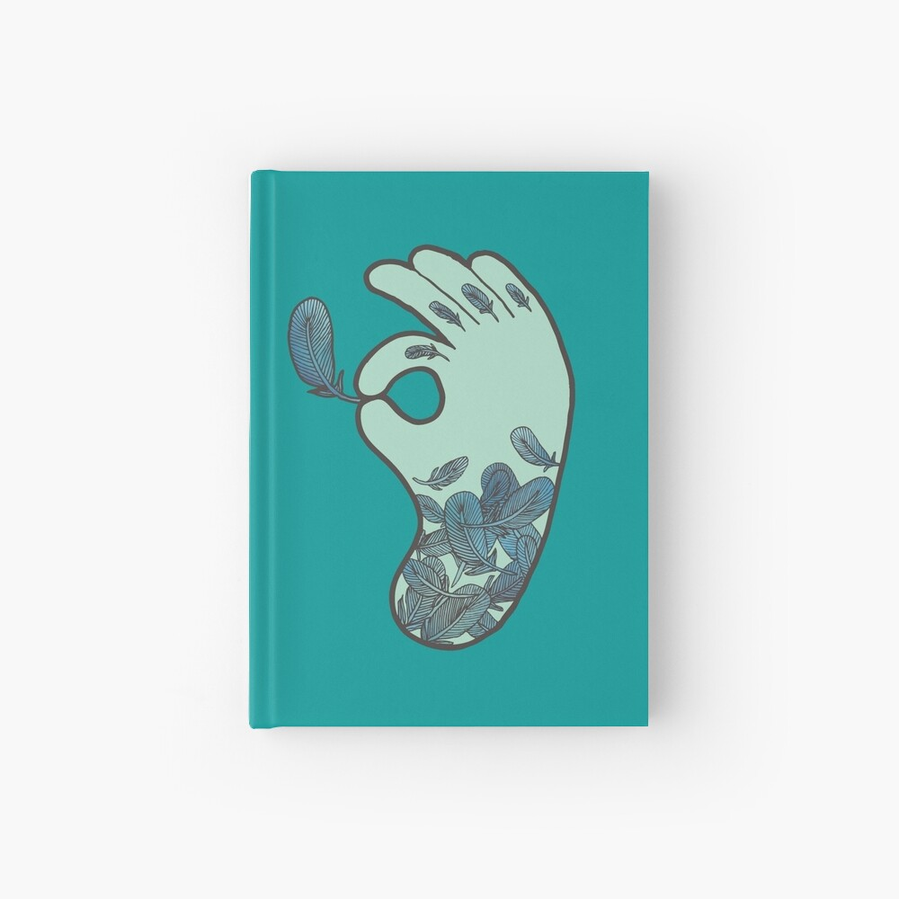 Blue Feather Tattoo Hardcover Journal