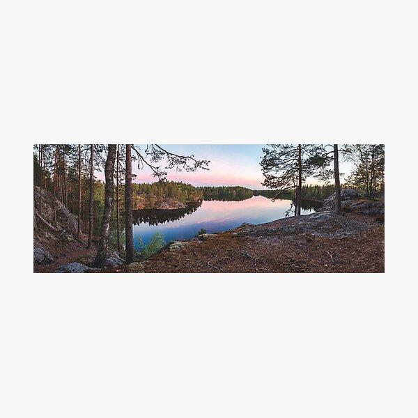 Midsummer lake view at midnight panorama Photographic Print