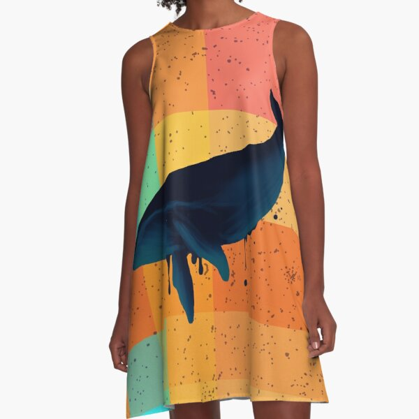Whale Patchwork A-Line Dress