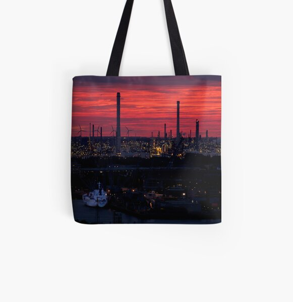 Rotterdam Harbour Skyline at Sunset, from Euromast All Over Print Tote Bag