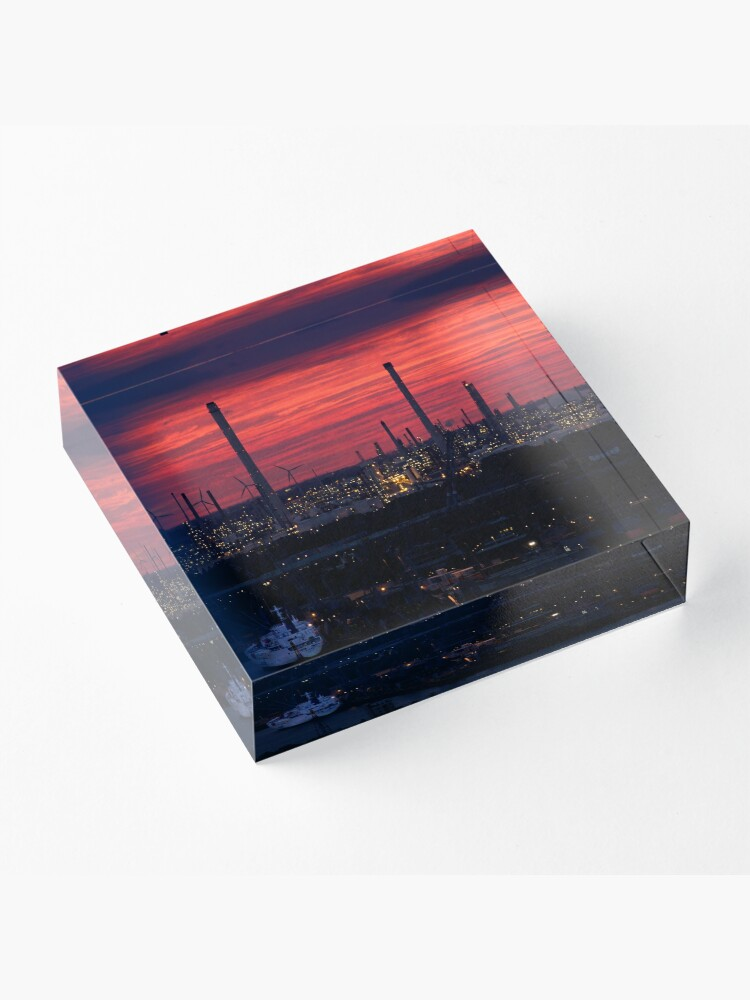 Alternate view of Rotterdam Harbour Skyline at Sunset, from Euromast Acrylic Block