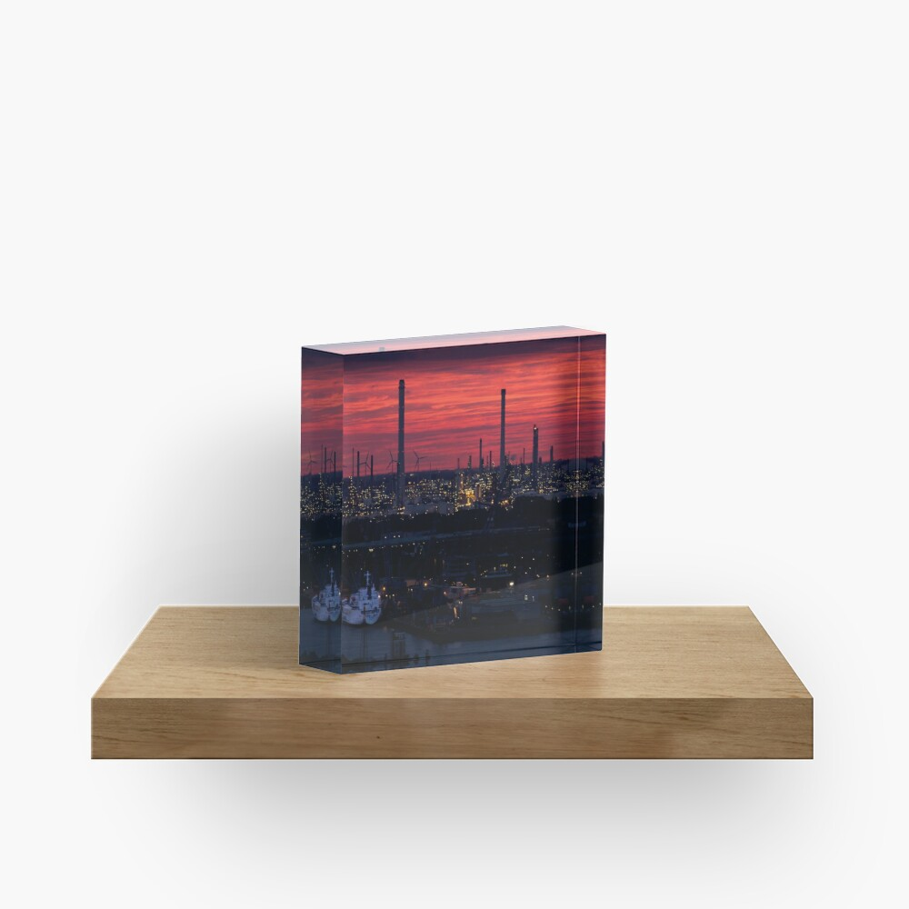 Rotterdam Harbour Skyline at Sunset, from Euromast Acrylic Block