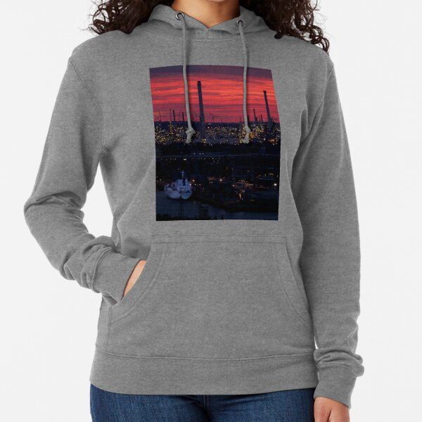 Rotterdam Harbour Skyline at Sunset, from Euromast Lightweight Hoodie