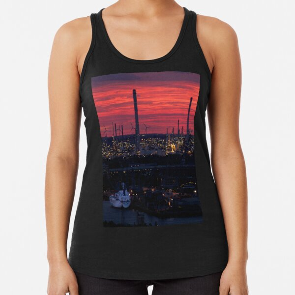 Rotterdam Harbour Skyline at Sunset, from Euromast Racerback Tank Top