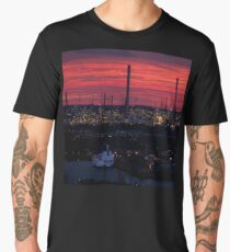 Rotterdam Harbour Skyline at Sunset, from Euromast Men's Premium T-Shirt