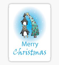 Decorating Penguin Christmas Card Sticker