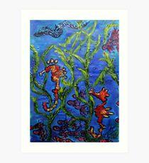 Seashorses under the pier Art Print
