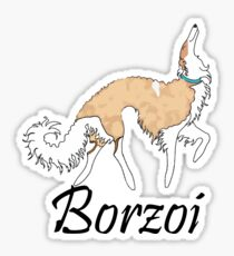 White And Gold Borzoi Sticker