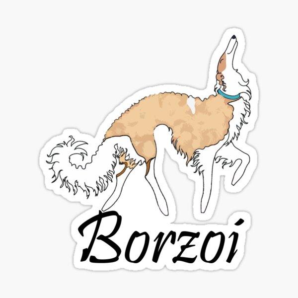 White And Gold Borzoi Sticker