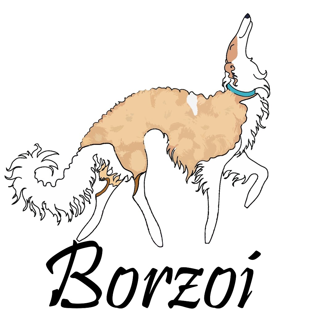 White And Gold Borzoi by Happy Dog Swag