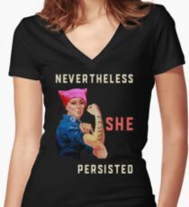 Nevertheless She Persisted. Resist with Rosie the Riveter Women's Fitted V-Neck T-Shirt