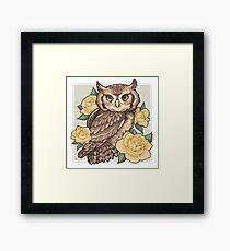 Screech Owl + Yellow Roses Framed Print