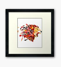 Shattered Lion -  Lion, Animal, Claw, Fangs, Jungle, Wild, Fierce, King Framed Print