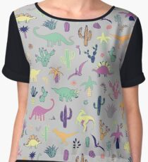 Dinosaur Desert - peach, mint and navy - fun pattern by Cecca Designs Chiffon Top