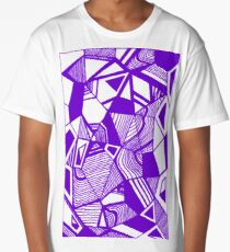 As Worlds Collide (Royal Purple) #Geometric #New #Polygon #Triangle #Lines #Sketch #Black #White Long T-Shirt