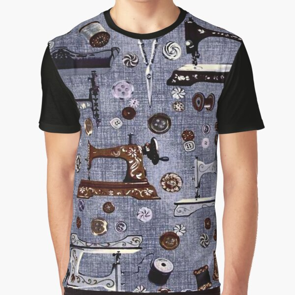 Vintage Sewing Machines Seamstress Pattern Graphic T-Shirt