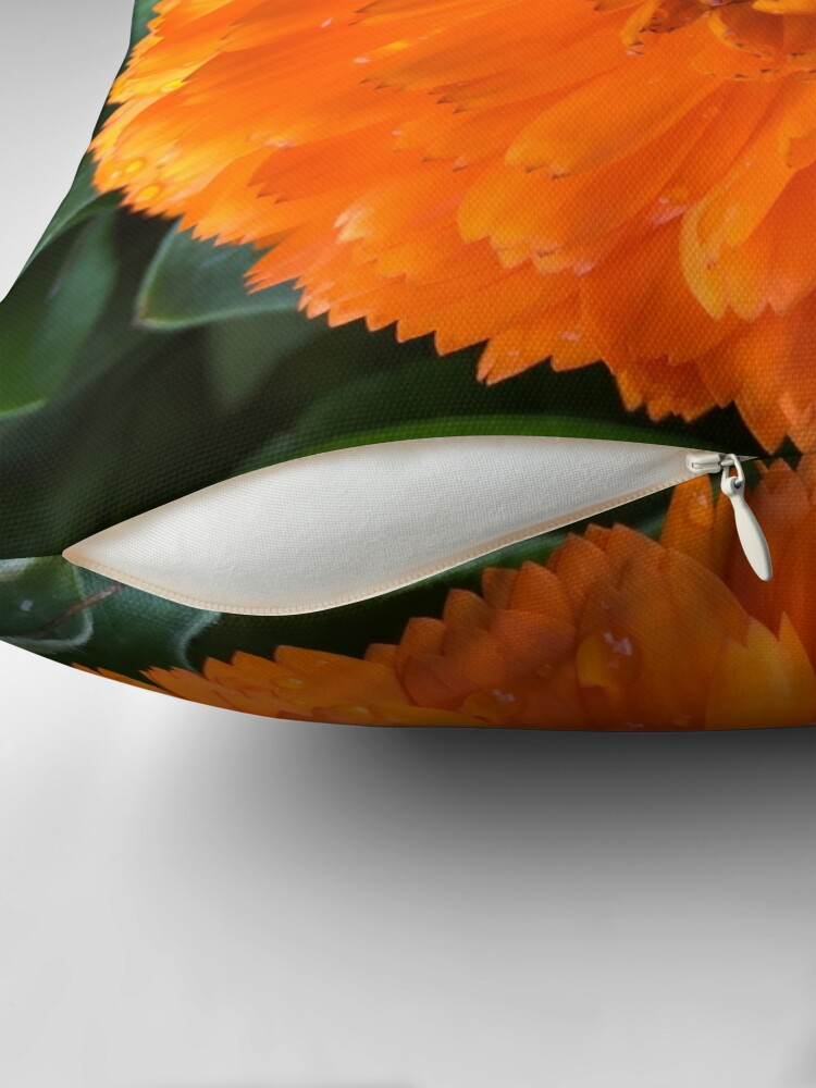 Alternate view of Marigold with Raindrops Throw Pillow