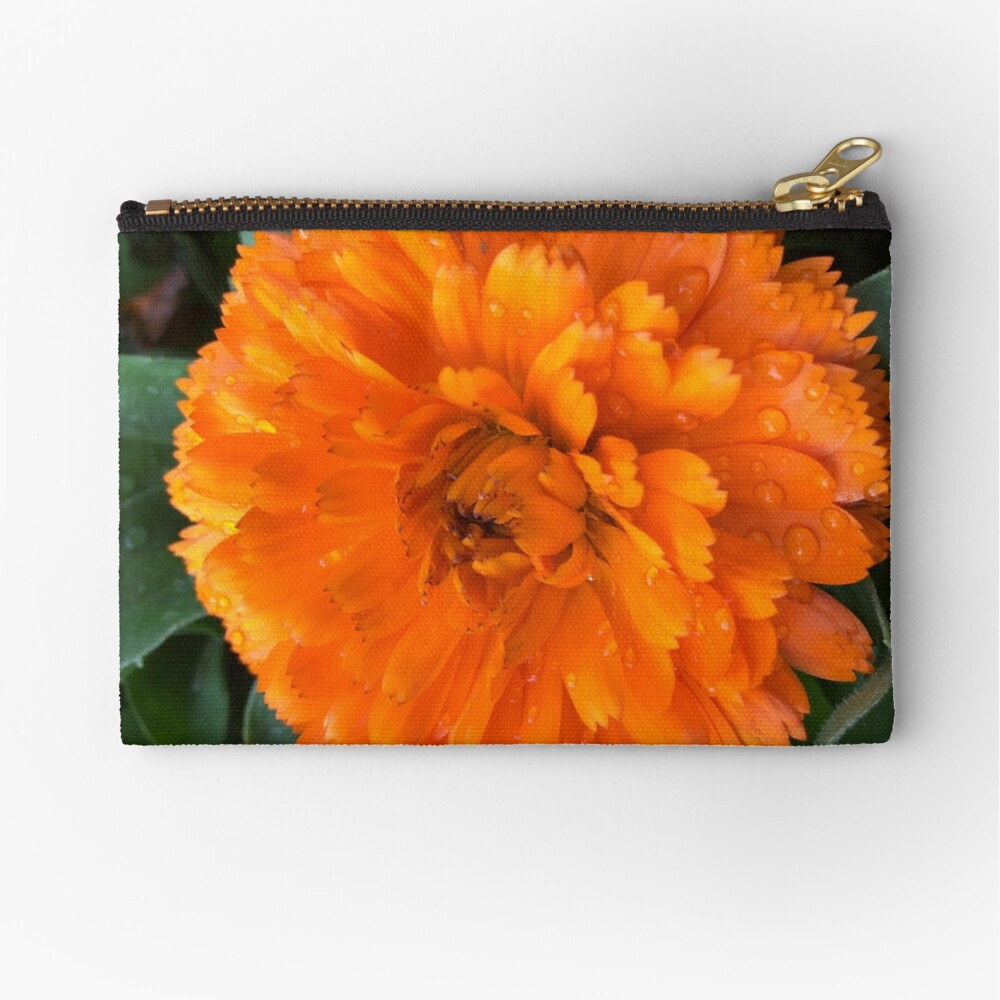Marigold with Raindrops Zipper Pouch
