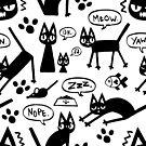 Derp Cat Speaks - Black & White by ChelseaPray