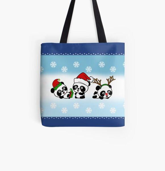 Pandas de Noël Tote bag doublé