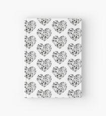 Cuaderno de tapa dura Corazones de notas de música en blanco y negro