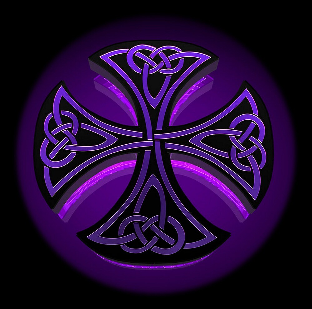 Black and Purple Celtic Cross Pattern by HavenDesign
